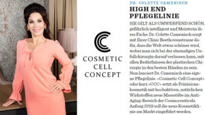 """In Seesicht magazine: high-end skincare line """"Cosmetic Cell Concept"""""""